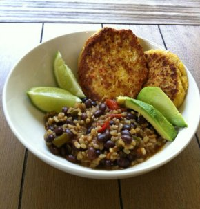 Cuban Inspired Black Beans and Brown Rice with Sweet Corn Cakes