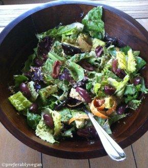 Romaine + Mixed Green Salad with Tahini Avocado PeachDressing
