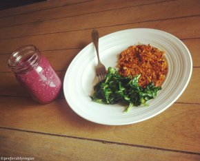 On Sunday Morning… Sweet Potato Hash, Wilted Spinach, and a Triple Berry Maca Smoothie